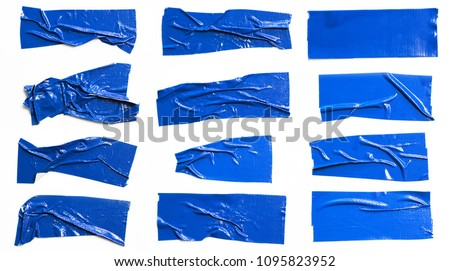 Set of Blue tapes on white background. Torn horizontal and different size blue sticky tape, adhesive pieces. #1095823952