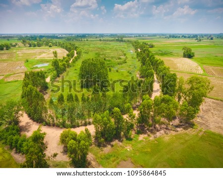 Aerial view of meandering river #1095864845