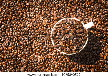 Brown coffee beans in white cup or mug #1095890537