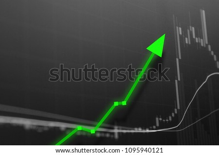 Stock market investment graph for profit.  Candles chart with rising arrow for business and financial gain on wall street.  Conceptual market intelligence.