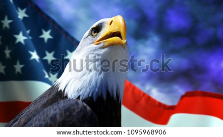 Bald Eagle and American flag with dark storm clouds at the background.