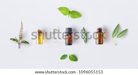 Bottle of essential oil with fresh herbal sage, rosemary, oregano, thyme, lemon balm spearmint and peppermint setup with flat lay on white background #1096055153