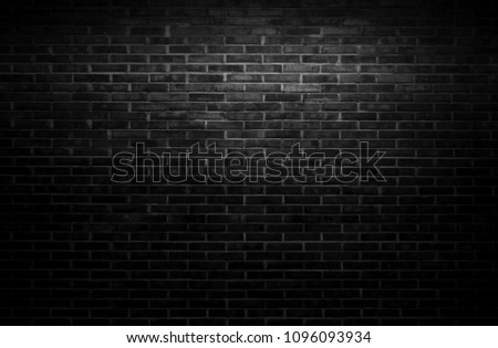 Black wall background The surface of the brick dark jagged. Abstract black wall background #1096093934