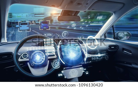 Cockpit of futuristic autonomous car. #1096130420