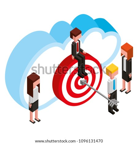 business people cloud computing target isometric