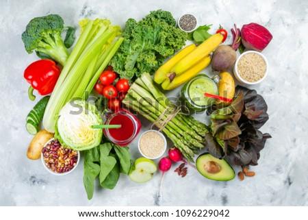 Alkaline diet concept - fresh foods on rustic background #1096229042
