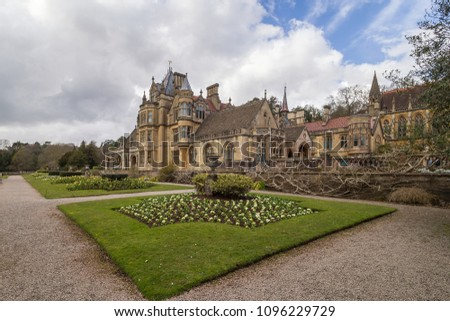 Wraxhall, North Somerset, England UK - April 03, 2018: Tyntesfield House, gothic revival house with gardens, near Bristol, England UK. #1096229729