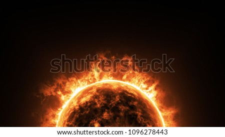 a big sun surface with solar flares and copy space on black background, global warming concept. Abstract scientific in universe background. #1096278443