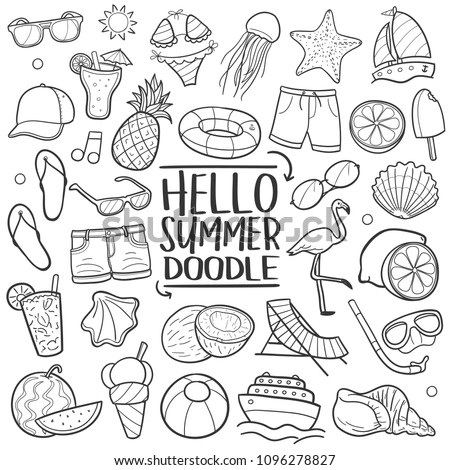 Hello Summer Vacation Traditional Doodle Icons Sketch Hand Made Design Vector.