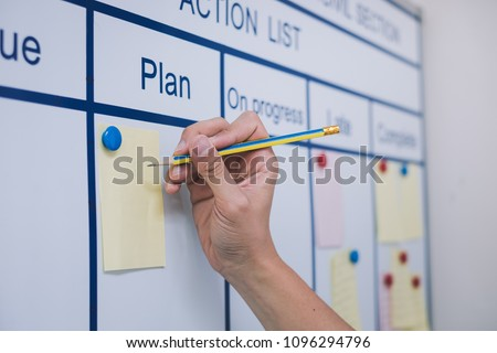 a manager's hand using a visual board in the meeting room writing a note to a plan section in the chart to find a solution at the department meeting in the business operation section