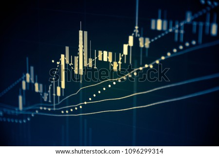 Financial data in term of a digital prices on LED display. A number of daily market price and quotation of prices chart to represent candle stick tracking in Forex trading. #1096299314