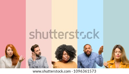 Cool group of people, woman and man irritated and angry expressing negative emotion, annoyed with someone #1096361573