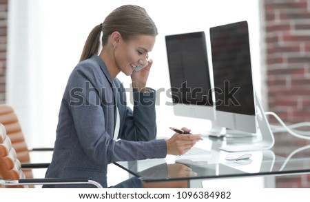 business woman talking on the smartphone #1096384982