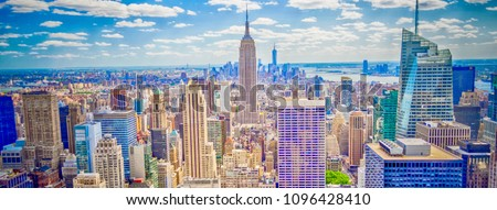 Aerial panoramic view of the New York City skyline from Midtown Manhattan, USA #1096428410
