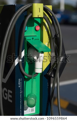 Closeup of an electric car charging station in the Domain, Auckland New Zealand. #1096559864
