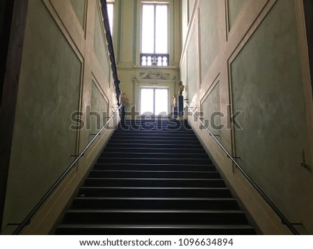 Uffizi Gallery, Florence, Italy - December 24, 2017: Stairs of the old museum. #1096634894
