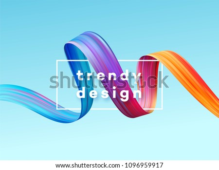 Modern colorful flow poster. Wave Liquid shape in blue color background. Art design for your project. Vector illustration EPS10 Royalty-Free Stock Photo #1096959917