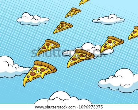 Pizza slices fly like flock of birds pop art retro raster illustration. Color background. Comic book style imitation.