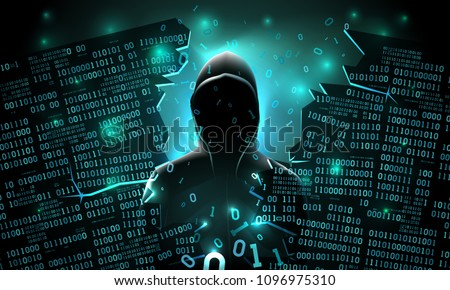 Hacker using the Internet hacked abstract computer server, database, network storage, firewall, social network account, theft of data