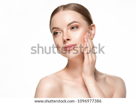 Beautiful woman female skin care healthy hair and skin close up face beauty portrait #1096977386