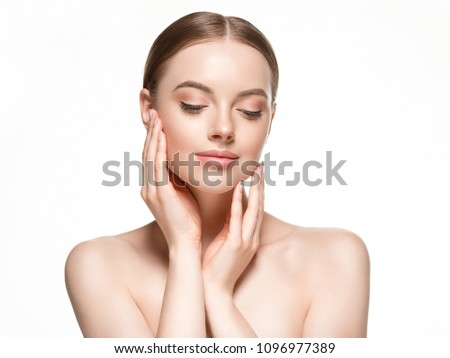 Beautiful woman female skin care healthy hair and skin close up face beauty portrait #1096977389
