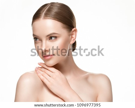Beautiful woman female skin care healthy hair and skin close up face beauty portrait #1096977395