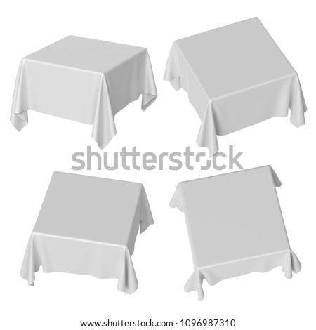 3d render, square table covered with white blank tablecloth, different perspective positions, textile folds, fabric shape, side and top view, isolated clip art set