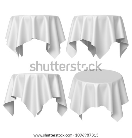 3d render, round table covered with red blank tablecloth, different perspective positions, textile folds, fabric shape, side and top view, isolated clip art set