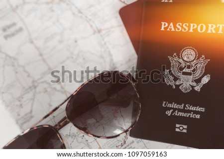 Overhead view of Traveler's accessories, Essential vacation items, Travel concept background, selected focus #1097059163