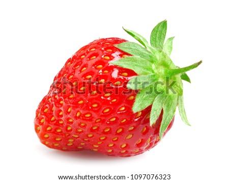 Ripe juicy strawberry isolated on white background #1097076323
