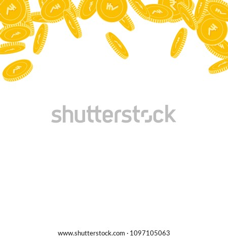 Indian rupee coins falling. Scattered big INR coins on white background. Curious abstract top border vector illustration. Jackpot or success concept. #1097105063