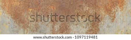 Large size, high resolution rusty metal texture. Suitable for graphic design, surface or pattern designs, print jobs and a lot more. Best for those who search for rusty, old, rough, metal textures. Royalty-Free Stock Photo #1097119481