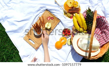 Picnic at the park on the grass: healthy food and accessories, top view