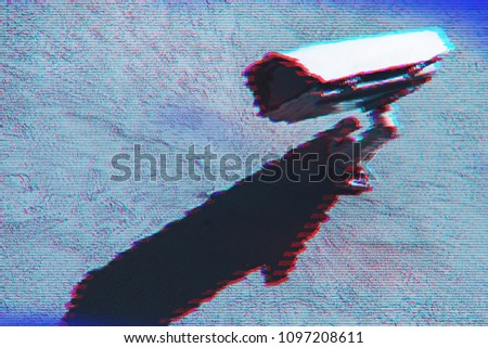 Surveillance camera with digital glitch effect and blank copy space #1097208611