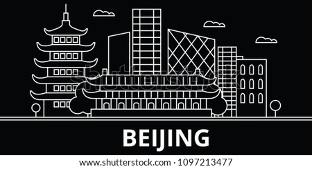 Beijing silhouette skyline. China - Beijing vector city, chinese linear architecture, buildings. Beijing travel illustration, outline landmarks. China flat icons, chinese line banner