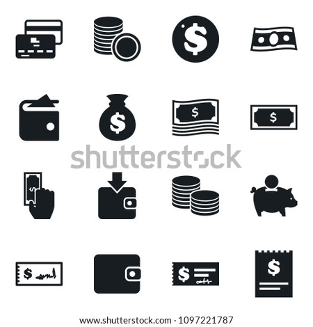 Set of simple vector isolated icons cash vector, money, wallet, piggy bank, paying, purchase, dollar coin, credit card, bag, stack, check, receipt #1097221787