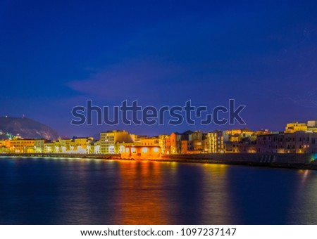 View of seaside of the sicilian city Trapani during sunset, Italy #1097237147