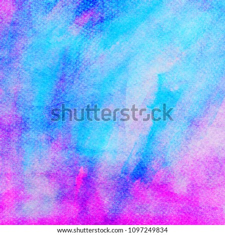 colorful abstract water color on paper, pink blue background #1097249834