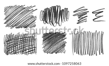 Collection of grunge graphite pencil textures, isolated on white background #1097258063