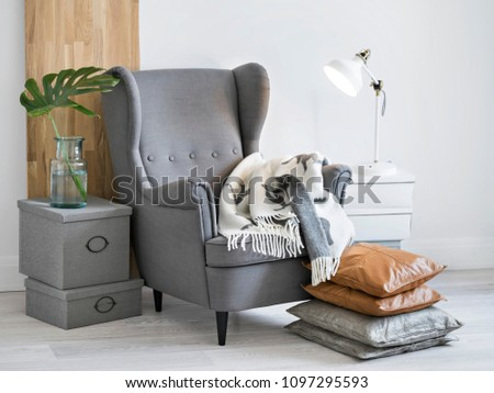 Relaxing reading corner with big grey armchair, cozy plaid, wooden board, exotic green plant and lamp. #1097295593