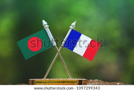 France and Bangladesh small flag with blur green background #1097299343
