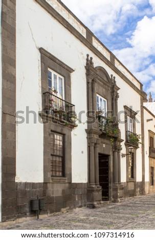 Historical buildings on Plaza del Pilar Nuevo in Las Palmas, Gran Canaria, Spain #1097314916