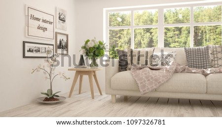 White room with sofa and green landscape in window. Scandinavian interior design. 3D illustration #1097326781