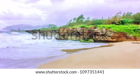 The beautiful limestone cliff and strong waves at Pounders Beach in the Northshore Oahu Island, Hawaii USA #1097351441