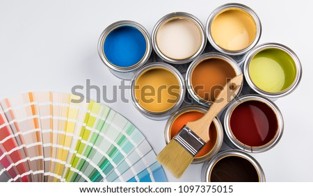 Paint cans color palette Royalty-Free Stock Photo #1097375015
