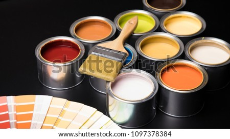 Paint can with a paintbrush #1097378384