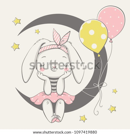 Vector illustration of a cute dreaming bunny girl, sitting on the moon. Royalty-Free Stock Photo #1097419880