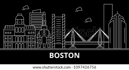 Boston city silhouette skyline. USA - Boston city vector city, american linear architecture, buildings. Boston city travel illustration, outline landmarks. USA flat icon, american line banner