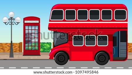 London Double Decker Bus in City illustration