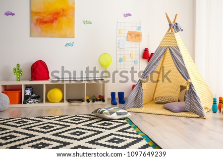 Modern room interior with play tent for child #1097649239